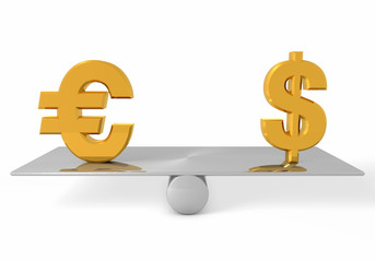 Balance scale with euro and dollar sign