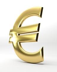 Euro dorato isolato su bianco