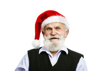 Old man in santa hat