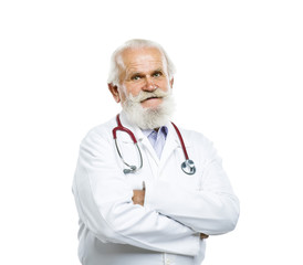 Old male doctor with stethoscope