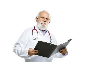 Old male doctor with stethoscope holding folder