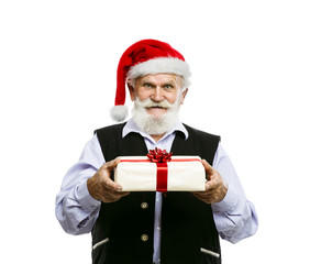 Old man in santa hat with gifts