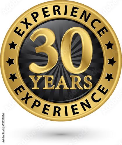 Zdjęcia na płótnie, fototapety, obrazy : 30 years experience gold label, vector illustration