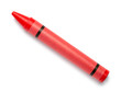 Red Crayon Wax Pencil on White Background - 72223026