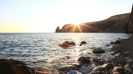 Yakhontovy beach near cape Fiolent in the sunset , Crimea