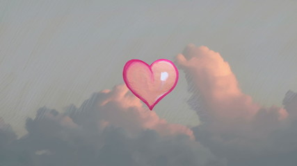 balloon heart in the sky, artistic  love concept