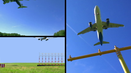 Airplane landing collage - HD