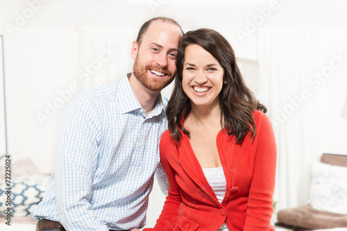 canvas print picture Couple having fun in living room