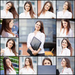 Collection portraits of a beautiful business woman