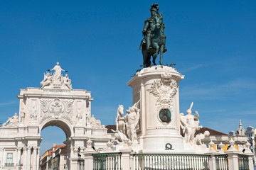 Statue of King Jose I and the Triumphal Arch in Lisbon, Portuga