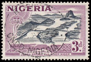 Stamp printed in Nigeria shows Jebba bridge and river Niger