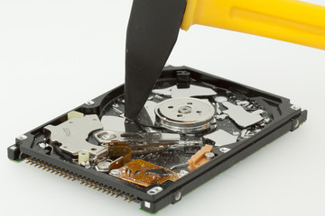 Inside of broken HDD hard drive disk, narrow focus
