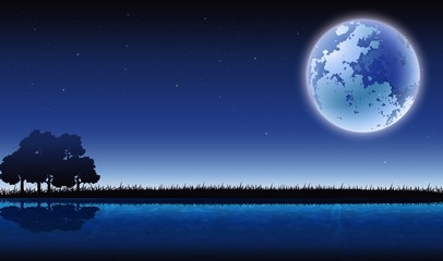 beauty silhouette of forests and lakes with full moon background