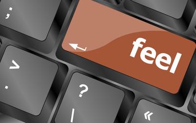 feel word on keyboard key, notebook computer button