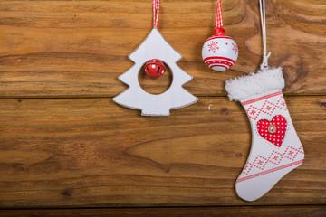 Variety of vintage Christmas decoration on wood