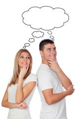 Funny couple thinking isolated