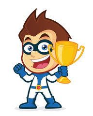 Superhero holding a trophy cup