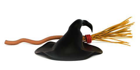 3d witch hat and broom