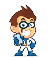 Superhero holding smartphone