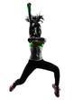 Leinwandbild Motiv woman exercising fitness zumba dancing jumping silhouette