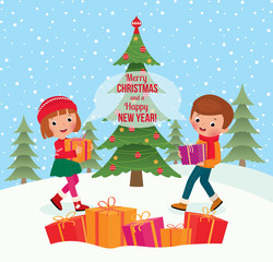 Children give Christmas gifts