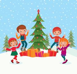 Children celebrate Christmas