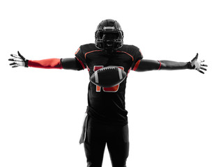 american football player touchdown celebration silhouette