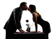 couples lovers kissing dinner silhouettes