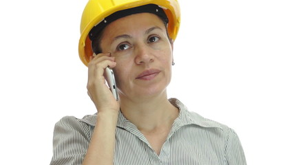 Woman Hardhat Phone Uninterested and Bored