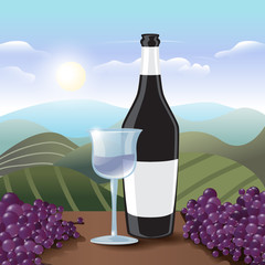 Red Wine Bottle With Glass - Vector Illustration