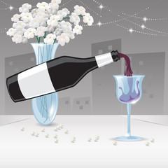 Red Wine Pouring Into Glass - Vector Illustration