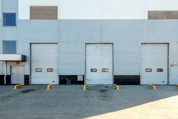 Three gates of warehouse and a lot of copyspace