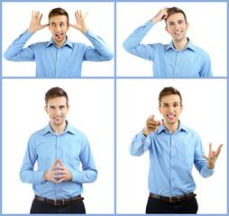 Man's emotion collage