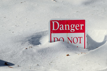 Danger Sign in Snow