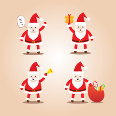 Set of Cute Santa Clauses.Cartoon styles for christmas