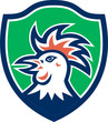 Cockerel Rooster Head Shield Retro