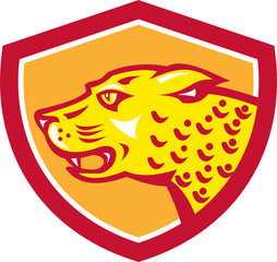 Jaguar Head Side Growling Shield Retro