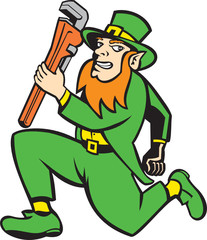 Leprechaun Plumber Wrench Running Retro