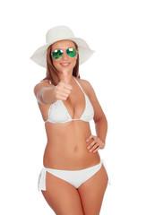 Funny girl in bikini saying Ok