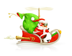 Santa Claus on sledge, vector illustration