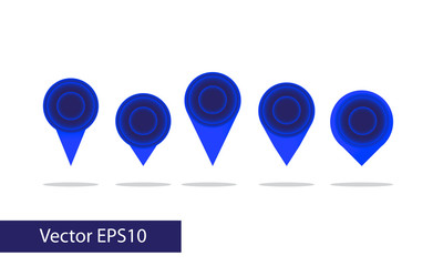 Map pin vector - blue neon