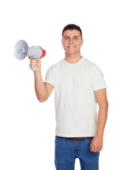 Casual men with a megaphone giving orders