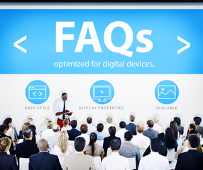Business People Presentation Seminar FAQs Concept