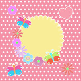 Round sticker with colorful flowers and butterflies