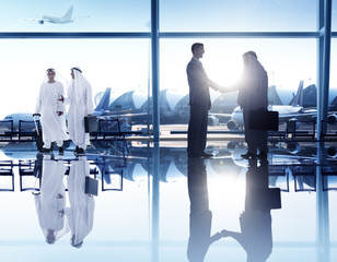 Business People Corporate Handshake Airport Concept