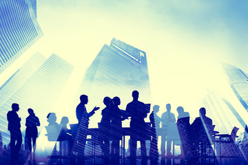 Business People Meeting Communication Cityscape Concept