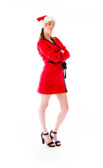 model isolated on white ready for christmas