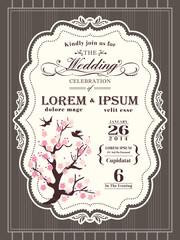 Vintage Floral Wedding invitation border and frame template