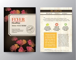 Brochure Flyer design layout vector template with Ginkgo leaf