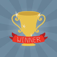 Trophy, winner cup vector illustration in flat style